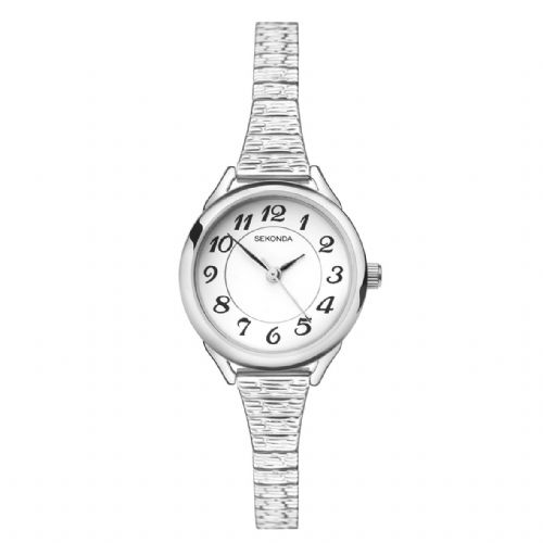 2638 Sekonda Watch Ladies Silver Plated Expanding Bracelet Clear Dial Arabic